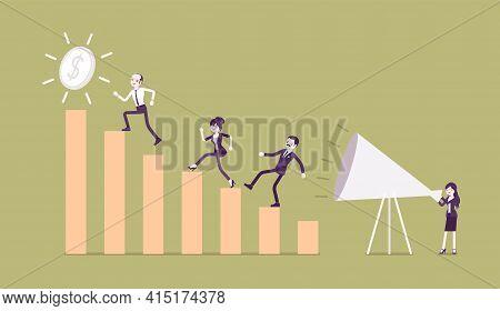 Giant Megaphone Motivational Speech, Entrepreneurs, Workers, Growing Bar Chart. Enthusiastic Woman C