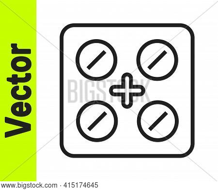 Black Line Pills In Blister Pack Icon Isolated On White Background. Medical Drug Package For Tablet,