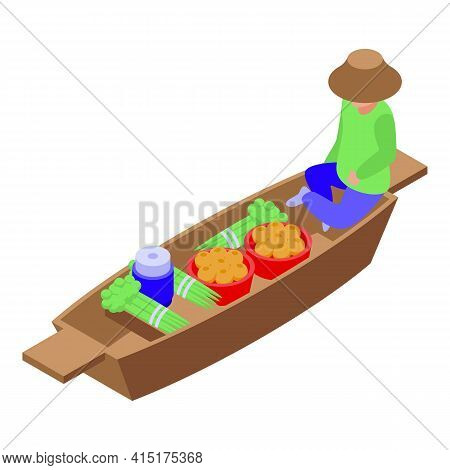 Thai Floating Market Icon. Isometric Of Thai Floating Market Vector Icon For Web Design Isolated On