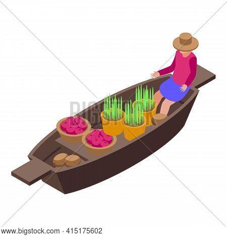 Tropical Floating Market Icon. Isometric Of Tropical Floating Market Vector Icon For Web Design Isol