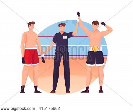 Winner Composition With View Of Boxing Ring And Judge Raising Hand Of Winner Vector Illustration