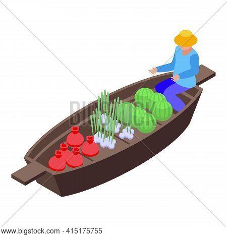 Tourist Floating Market Icon. Isometric Of Tourist Floating Market Vector Icon For Web Design Isolat