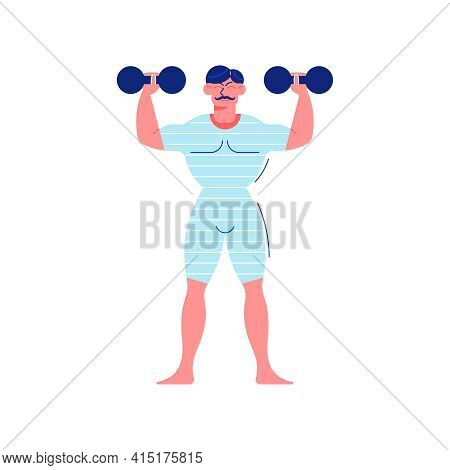 Circus Funfair Composition With Human Character Of Strongman Raising Dumbbells Vector Illustration
