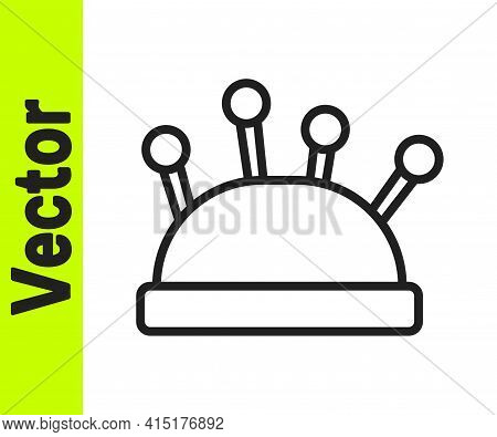 Black Line Needle Bed And Needles Icon Isolated On White Background. Handmade And Sewing Theme. Vect