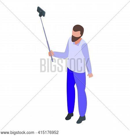 Smartphone Selfie Stick Icon. Isometric Of Smartphone Selfie Stick Vector Icon For Web Design Isolat