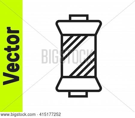 Black Line Sewing Thread On Spool Icon Isolated On White Background. Yarn Spool. Thread Bobbin. Vect