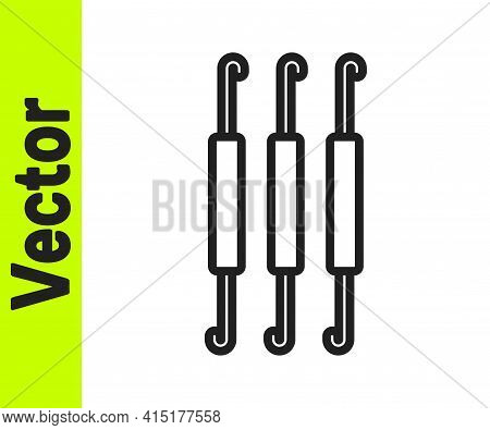 Black Line Crochet Hook Icon Isolated On White Background. Knitting Hook. Vector