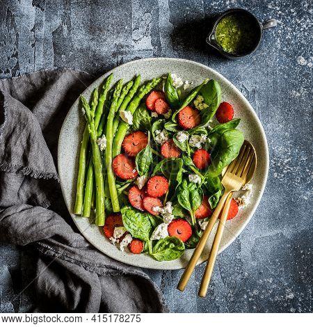 Strawberry, Spinach, Asparagus And Feta Salad With Pesto Dressing, Square