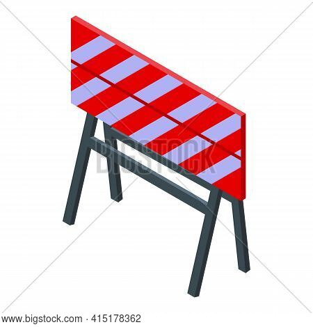 Road Barrier Icon. Isometric Of Road Barrier Vector Icon For Web Design Isolated On White Background