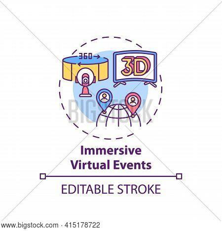 Immersive Virtual Events Concept Icon. Virtual Sessions Type Idea Thin Line Illustration. Interactiv