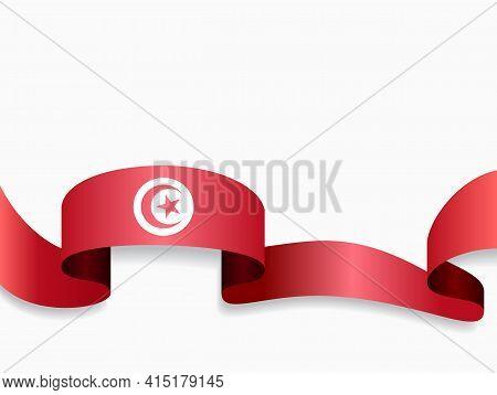 Tunisian Flag Wavy Abstract Background. Vector Illustration.