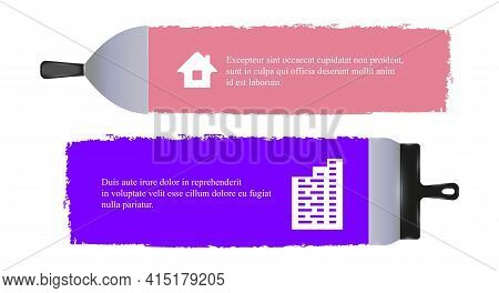 Horizontal Banners With Spatulas. Putty Knife Plastering. Putty Smear. Apartment Renovation Banner T