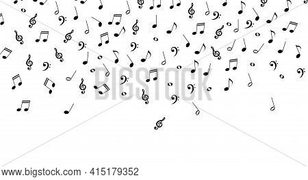 Falling Music Notes, Musical Background. Vector Illustration Isolated On White.