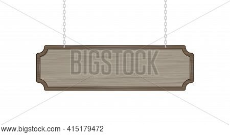 Hanging Wood Sign. Brown Empty Signboard On Silver Metal Chains. Vector Illustration Isolated On Whi