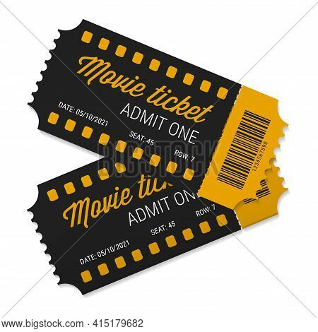 Two Cinema Tickets Close Up Top View. Tear-off Ticket. Black And Yellow Tickets With Barcode. Vector