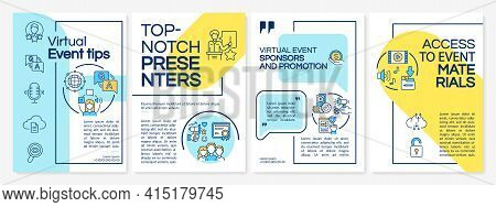 Virtual Event Tips Brochure Template. Top-notch Presenters. Flyer, Booklet, Leaflet Print, Cover Des