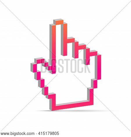 Hand Cursor Pixel 3d. Hand Arrow Pixelated Cursor. Forefinger, Index Finger Cursor. Vector Illustrat