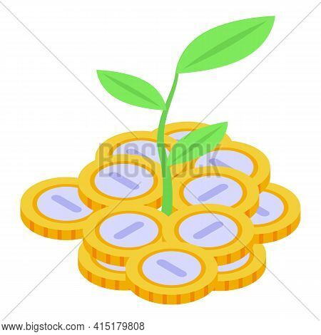 Plant Money Investments Icon. Isometric Of Plant Money Investments Vector Icon For Web Design Isolat