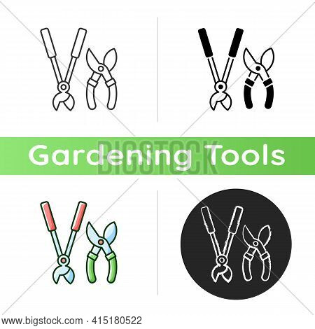 Garden Secateurs Icon. Bypass Loppers. Hedge Trimmers. Pruning Trees, Shrubs And Shears. Care For Li