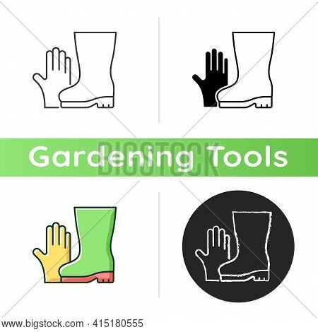 Gardening Gloves And Boots Icon. Garden And Yard Work. Keeping Hands And Fingernails Safe And Clean.