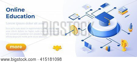 Online Education - Isometric Design In Trendy Colors Isometrical Icons On Blue Background. Banner La