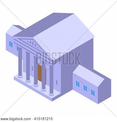 Justice Building Icon. Isometric Of Justice Building Vector Icon For Web Design Isolated On White Ba