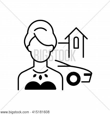 Upper Class Black Linear Icon. Woman Of High Status In Society. Luxury Lifestyle. Party For Wealthy,