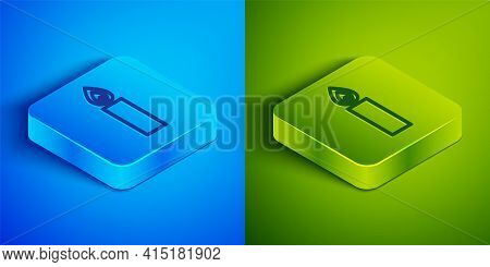 Isometric Line Burning Candle Icon Isolated On Blue And Green Background. Cylindrical Candle Stick W