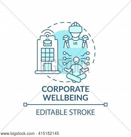 Corporate Wellbeing Concept Icon. Future Office Design Idea Thin Line Illustration. Remote Working C