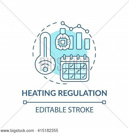 Heating Regulation Concept Icon. Smart Office Idea Thin Line Illustration. Reducing Heat, Cold-relat