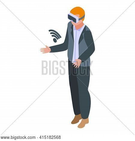 Virtual Interaction Icon. Isometric Of Virtual Interaction Vector Icon For Web Design Isolated On Wh