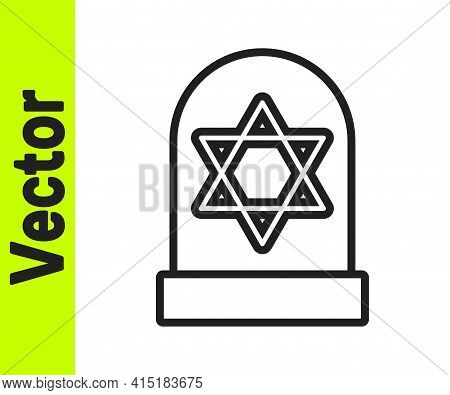 Black Line Tombstone With Star Of David Icon Isolated On White Background. Jewish Grave Stone. Grave