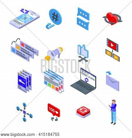 Repost Icons Set. Isometric Set Of Repost Vector Icons For Web Design Isolated On White Background
