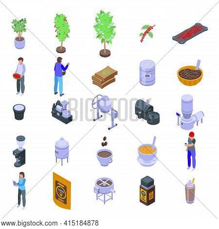 Coffee Production Icons Set. Isometric Set Of Coffee Production Vector Icons For Web Design Isolated