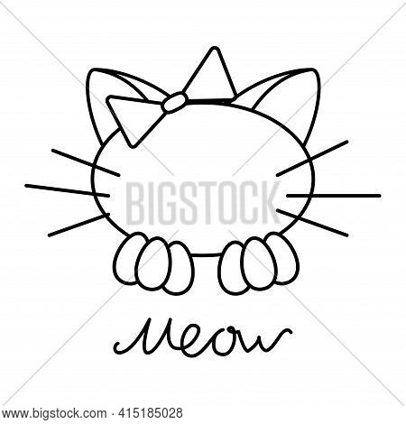 Black Line Cat With Bow And Letters Meow Isolated On White Background. Vector Simple Illustration De