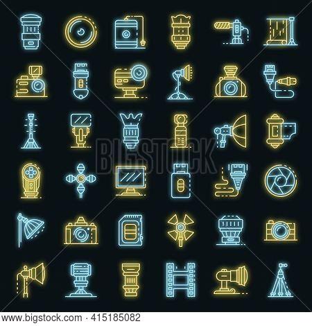 Photographer Equipment Icons Set. Outline Set Of Photographer Equipment Vector Icons Neon Color On B