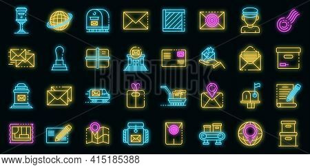 Postman Icons Set. Outline Set Of Postman Vector Icons Neon Color On Black
