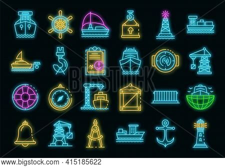 Marine Port Icons Set. Outline Set Of Marine Port Vector Icons Neon Color On Black