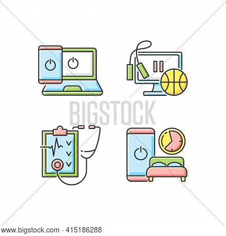 Healthy Lifestyle Rgb Color Icons Set. Going Offline. Exercise Break. Regular Health Checkup. Sleep