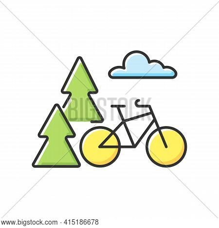 Outdoor Activities Rgb Color Icon. Outside Exercise. Riding Bike In Nature. Bicycle Activity. Active