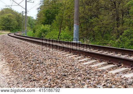 A Bend In The Railway Tracks. No Train On The Railway Track. Railroad Tracks Turn.