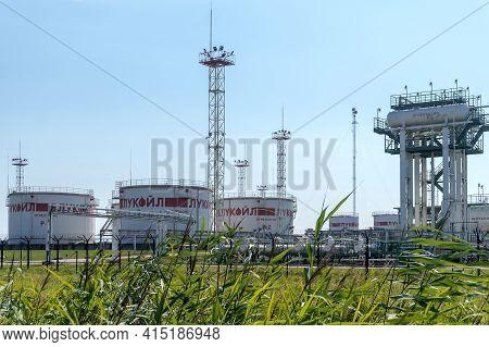Kaliningrad Region, Russia, July 26, 2020. Lukoil Refinery. Oil Refinery Units. Complex Oil Terminal