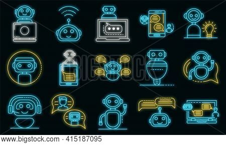 Chatbot Icons Set. Outline Set Of Chatbot Vector Icons Neon Color On Black