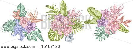 Flower Bouquet Of Pastel Monstera, Banana Palm Leaves, Strelitzia, Heliconia, Tropical Palm Leaves,