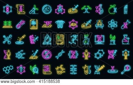 Genetic Engineering Icons Set. Outline Set Of Genetic Engineering Vector Icons Neon Color On Black