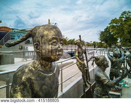 Close Up Children Statue On Thao Suranari Monument At Korat Nakhon Ratchasima City Thailand.thao Sur