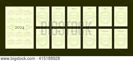 2024 Calendar In Delicate Natural Trendy Style Decorated With Botanical Hand Drawn Branch Leaves. Se