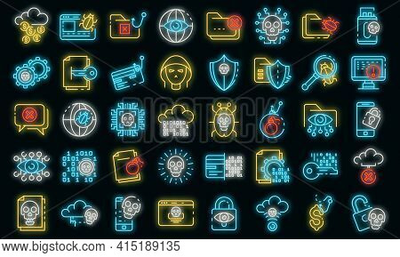 Cyber Attack Icons Set. Outline Set Of Cyber Attack Vector Icons Neon Color On Black