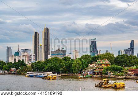 Bangkok/thailand- 04/07/2020-bangkok Cityscape With Chinese Shrine Beside The Chaophraya River.bangk