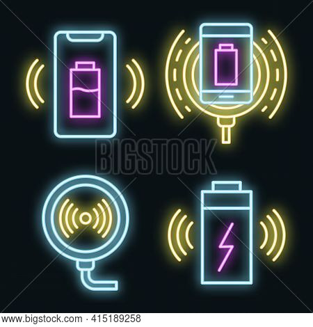 Wireless Charger Icons Set. Outline Set Of Wireless Charger Vector Icons Neon Color On Black